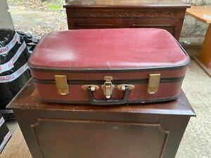 Vintage Dark Red Hard Bodied Suitcase Luggage Storage Display
