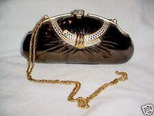 Brown-Gold Rhinestone Egg Purse Bag Evening Handbag