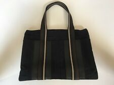Authentic HERMES Troca Horizontal MM Black Canvas Tote Hand Bag