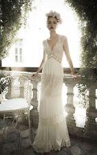 Vintage Ivory V Neck Wedding Dresses Sheath Lace Beading Boho Beach Bridal Gowns