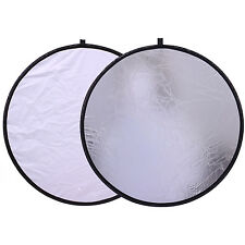 "White Silver Photography Photo Studio Collapsible Reflector 2in1 12"" 30cm"