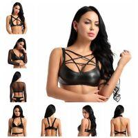 Womens Wetlook PU Leather Bralette Bralet Bra Bustier Crop Top Cami Tank Shirts
