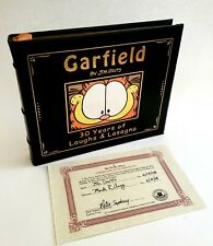 "Garfield's ""Laughs and Lasagna"" Signed Jim Davis Leather Bound Book Easton Press"