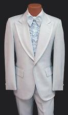 Men's Vintage Light Blue Tuxedo with Pants, Vest, Ruffle, & Bow Tie 34 Regular