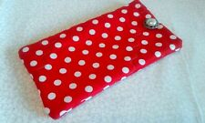 Red Dots Fabric Eyeglass Sun Glasses Soft Case Pouch Handmade Phone Cover