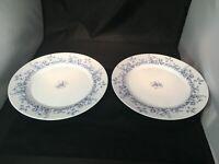 "Arcopal France GLENWOOD White Blue Floral Glass Dinner Plates 10-3/4"" Set 2"