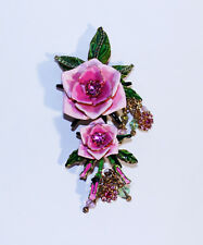 Vintage Lunch At The Ritz Tea Rose Brooch, Pink Rose Flower Pin