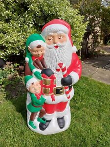 TPI Santa with Elves Blow Mold Christmas light decoration. Rare and unique.