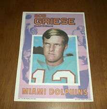 1971 TOPPS FOOTBALL POSTER INSERT - DOLPHINS BOB GRIESE  #7