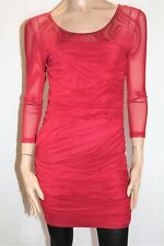 IMPRINT Brand Maroon Mesh 3/4 Sleeve Ruched Bodycon Dress Size 14 BNWT #SB31