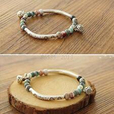 Adjustable Women Ethnic Ceramics Silver Plated Handmade Bangle Bracelet Beads