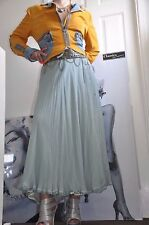 PARTY SKIRT BLUMARINE EXTRA LONG ,100% SILK  DUST  MINT 4 Layers  8-10 S  EU 42