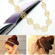Fashion Sweet Metallic Lady Hair Hollow Rose Flower Elastic Hair Band Headband