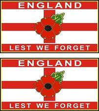 2 POPPY CAR STICKERS WITH ST GEORGE CROSS ENGLAND LEST WE FORGET