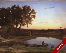 FRENCH SUNSET & BOATMAN SCENIC LANDSCAPE ART PAINTING REAL CANVAS PRINT