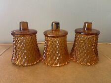 3 Home Interior Homco Amber Glass Diamond Cut Votive Candle Holder Sconces