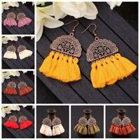 Fashion Bohemian Long Tassel Fringe Drop Dangle Ear Stud Earrings Women Jewelry