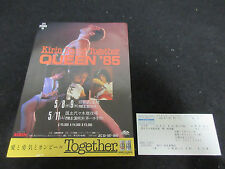 Queen 1985 Japan Tour Promo Flyer with Ticket Stub Freddie Mercury Brian May