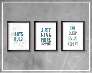 Gaming Prints Boys Bedroom Decor Gamer Eat Sleep Game Wall Art Teen Blue Grey A4