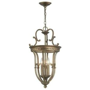 World Imports 3-Light Height Adjustable and Dimmable Distressed Brass Pendant