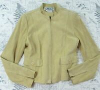 Carlisle Womens Pale mustard Suede Jacket fitted not collar Lined size 4 Small S