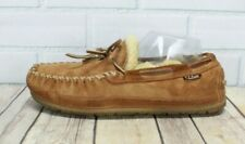 LL BEAN Men's Brown Shearling Lined Wicked Good Moccasin Slippers Size 9