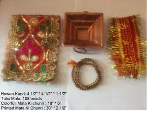 Traditional Copper Hawan Kund for Agnihotra Pooja, Mata Ki chunri, Tulsi Mala