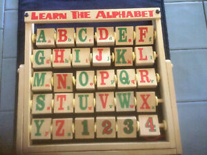 Learn the Alphabet wooden standing table toy with sponiing letters and  numbers