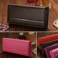 Fashion Womens Leather Bifold Wallet Clutch Card Holders Lady Purse Long Handbag