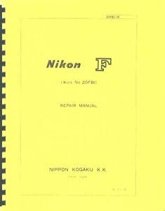 Nikon F Camera Body Service & Repair Manual (c1970) Reprint