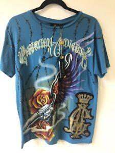 New Tags Christian Audigier Winged Gun Platinum T-shirt Mens Medium.