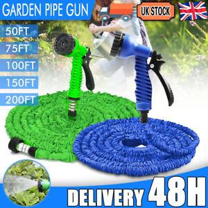 UK 50-200 FT Long Retractable Expandable Magic Garden Hose Pipe With Spray Gun