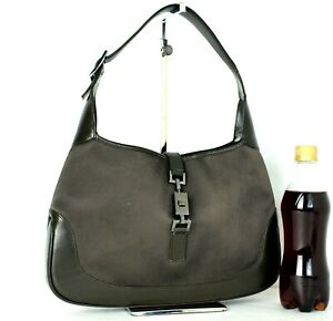 Auth GUCCI Nylon Canvas, Brown Leather Jackie Hobo Shoulder Bag Purse Italy Used