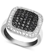 Victoria Townsend Sterling Silver Black & White Diamond Square Ring #1191