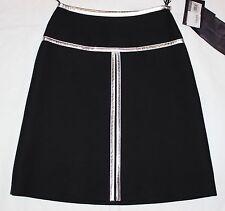 PRADA $1,360 silver leather trim a-line wool silk FW14 high waisted skirt 38 NEW