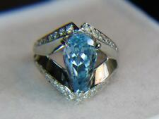 3.04CT VS COLLECTOR NATURAL SANTA MARIA COLOR AQUA &.49CTW DIAMOND PLATINUM RING