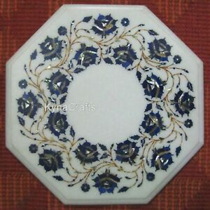 18 Inch Marble Coffee Table Top Pietra Dura Art Bed Side Table from Cottage Art