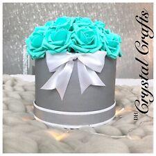 'Tiffany' Everlasting Forever Faux Foam Rose Aqua Large Grey White Hat Box