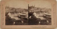 Lucerna Il Wharf Suisse Foto Young Stereo Vintage Albumina 1901