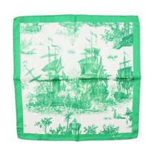 Kiton Napoli Bright Green Naval Battle Print Silk Pocket Square