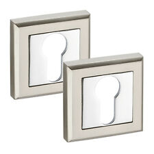 Euro Cylinder Escutcheon Pair on Square Rose with Dual Chrome Finish