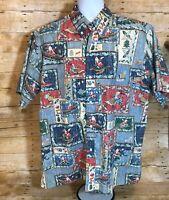 Reyn Spooner Mele Kalikimaka 2003 Christmas Santa Aloha Hawaiian Shirt Mens XL