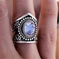 Women Men Retro 925 Silver Ring Gift Moonstone Wedding Engagement Size 6-10