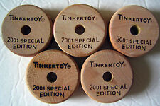 Wooden Tinker Toys Parts Lot: 5 Spools (1-Hole) 2001 Special Edition Pieces