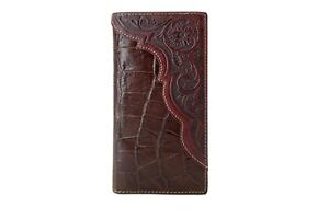 Western Genuine Leather Men Cowboy Wallet Rodeo Long Bifold Checkbook Clearance1