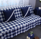 Blue & W Check Cotton Linen Slipcovers Sofa Cover Pet Protector 1 2 3 4 seaters