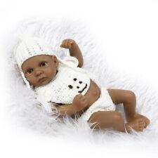 "11"" Handmade Full Silicone Body Dolls Black Reborn Boy Baby Dolls for Girls"