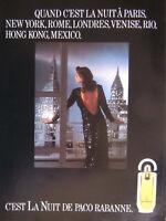 PUBLICITÉ DE PRESSE 1989 C'EST LA NUIT DE PACO RABANNE