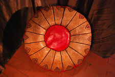 Moroccan Leather Pouffe, Red Leather Pouf, Leather Ottoman, Storage Footstool