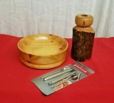 Handmade Wooden Bowl & Candle Sconce Beautiful Wood Grain Nutcracker Rustic